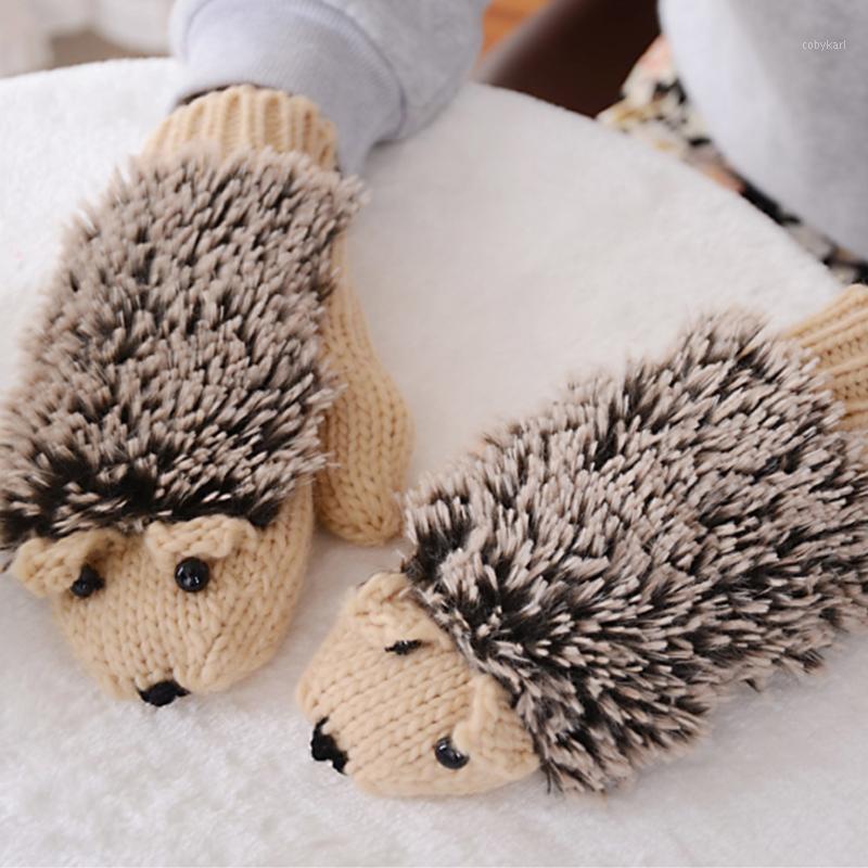 YJSFG House Donne Guanti invernali senza dita divertente Cute Hedgehog Guanti Lana Cartoon lavorato a maglia Uncinetto Muttente caldo nuovo1
