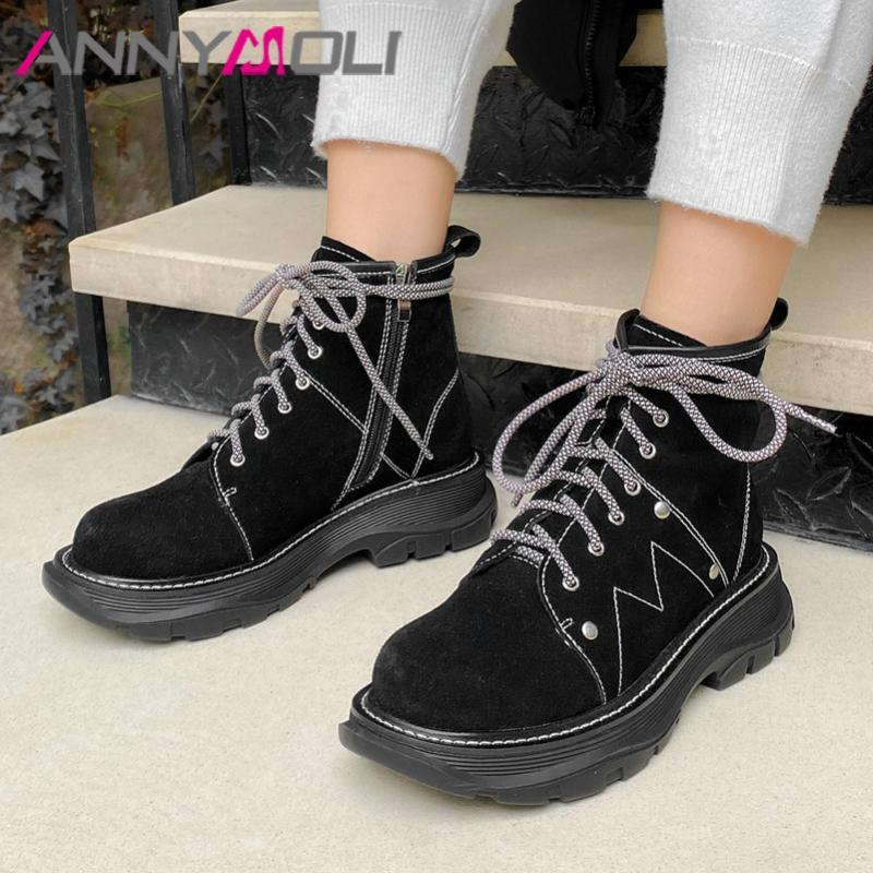 Annymoli Real Couro Vaca Camurça Plataforma Flat Ankle Boots Mulheres Motocicleta Botas Sapatos Zip Rivet Lace Up Quente Neve Senhora 42