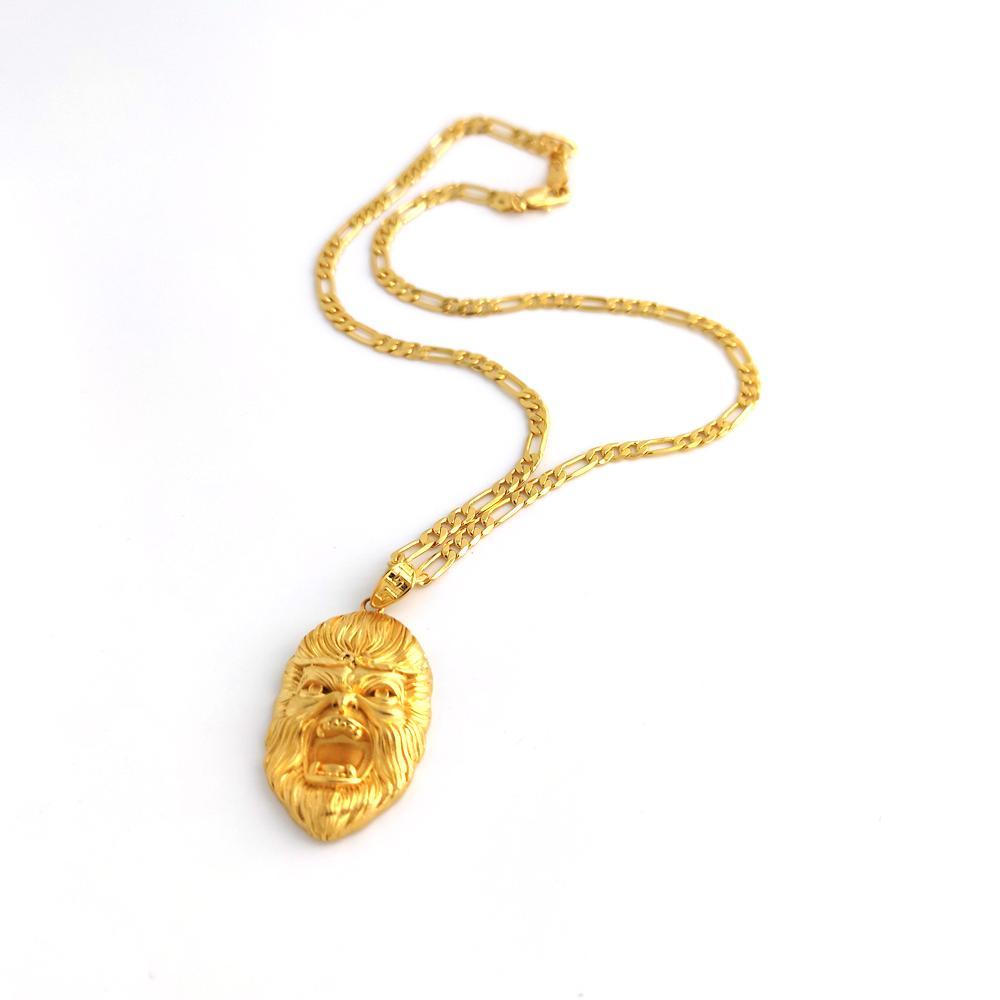 Ltalian figaro collegamento catena collana pendente mens 24 k solido oro fine oro piene testa bella scimmia re US width monili di moda