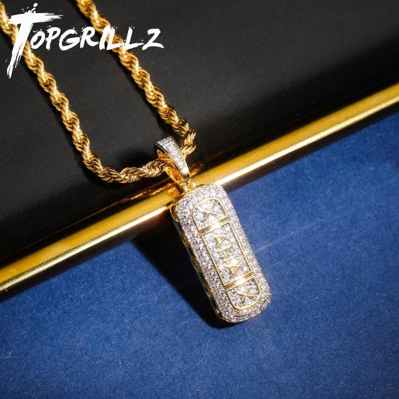 TopGrillz Hip Hop Gold Color plated Eye out Micro Gepflasterte CZ Stein Xanax Pille Halskette Anhänger Charme für Männer Frauen Gunden Y1119
