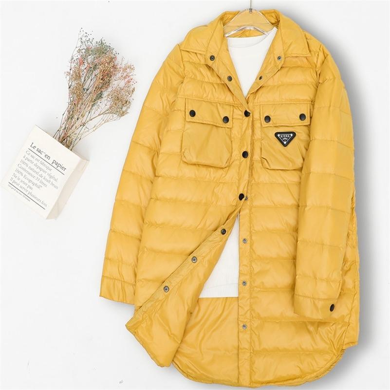 Femme Hiver Duck Down Puffer Jacket Nouveau Coréen lâche Loisirs Single Brotle Long Ultra Light Down Down Veste pour Femmes Coat Coat Parkas 201211
