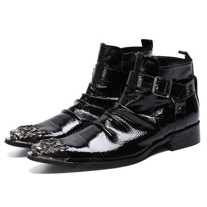 Plus größe schwarz spitz plissierte mann handgefertigte motorrad schuhe landwasser männer cowboy knöchel stiefel