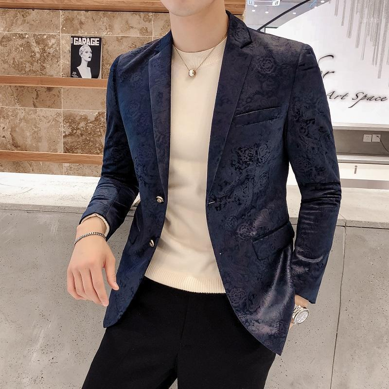Trajes para hombres blazers elegantes hombres de negocios blazer slim fit fiesta casual fiesta banquete chaqueta doble botones moda novio boda traje cantante show