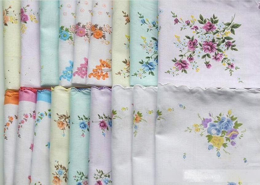 100% coton mouchoir des serviettes de nettoyage de dames filles florales mouchoirs de fête de la fête de la décoration de tissu de tissu métallique vintage Hanky Oman mariage livraison gratuite
