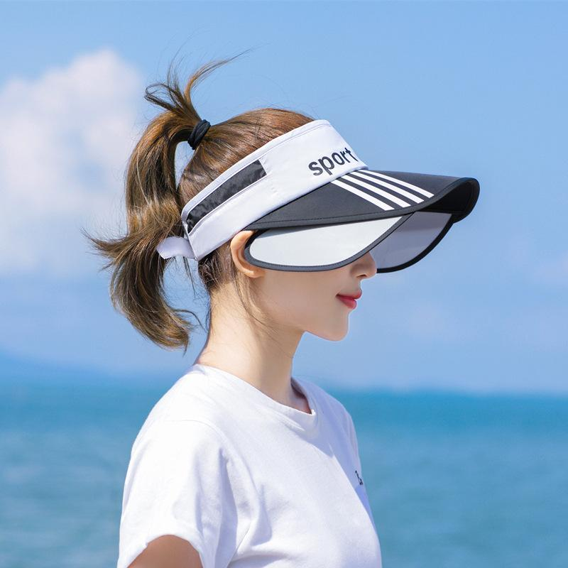 2020 New Style Sun Virsors Esportes Imprimir Sol Bonés para Mulheres Ampla Brim Beach Hat UV Proteção Feminino Tampão C1121