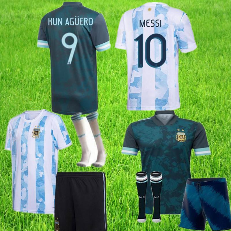 kids Copa America 2020 2021 child Argentina soccer jersey KITS+socks 20 21 MESSI DYBALA MARADONA AGUERO DI MARIA HIGUAIN football shirts