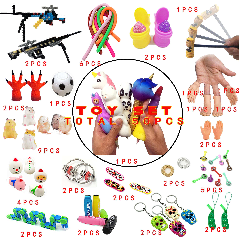 2020 새로운 재미 있은 레저 조합 50 조각 액티브 - 솔리드 fidget 키즈 장난감 아마존 뜨거운 다양 한 스타일 세트 도매 세트