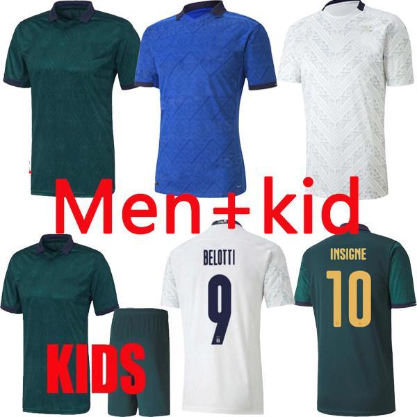 2021 이탈리아 축구 유니폼 홈 멀리 Maillot Jorginho 엘 Shaarawy Bonucci Insigne Bernardeschi 성인 남성 + 키트 키트 축구 셔츠