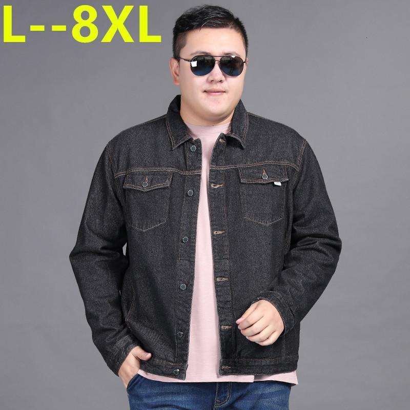 8XL 7XL мужская куртка осень зима повседневная джинсовая джинсовая куртка мода простая сплошная цветной воротник с карманами