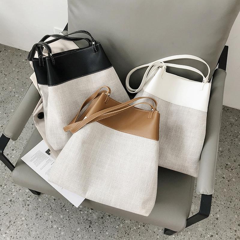 Patchwork Tote Bags Women Shoulder Bag 2020 Fashion Large Capacity Bucket Bags for Women Casual Canvas Women's Bag Big Shopper C0308