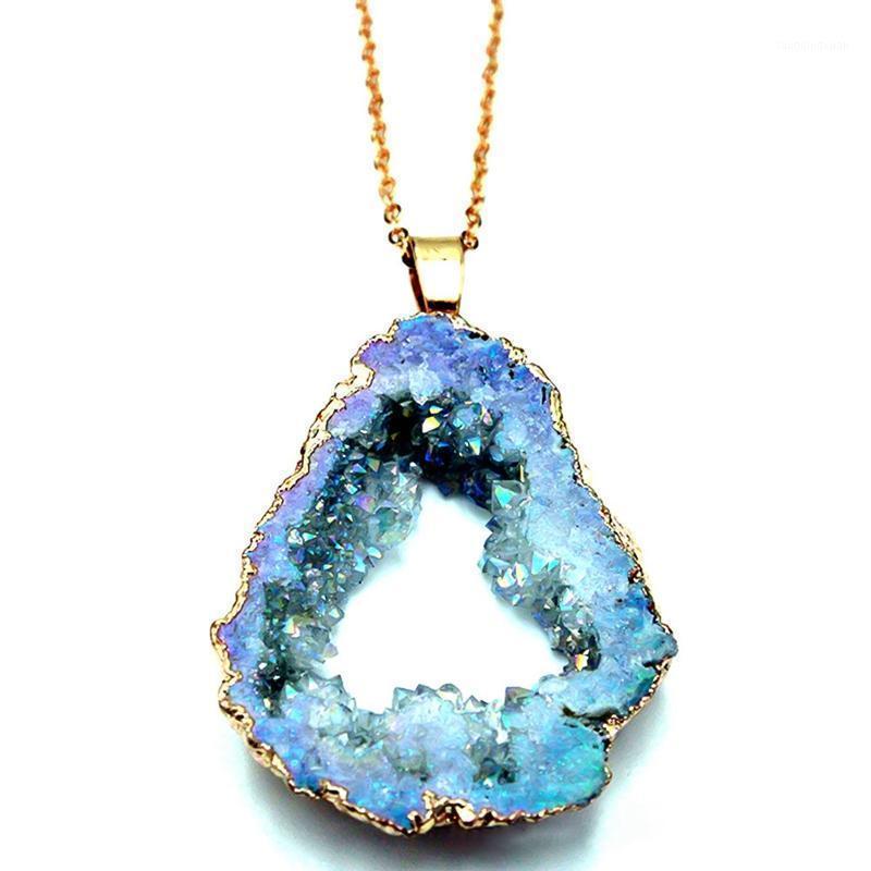 Cadenas de piedra natural Cuarzo colgante collar colorido irregular drusy color oro collares para mujer joyería regalo1