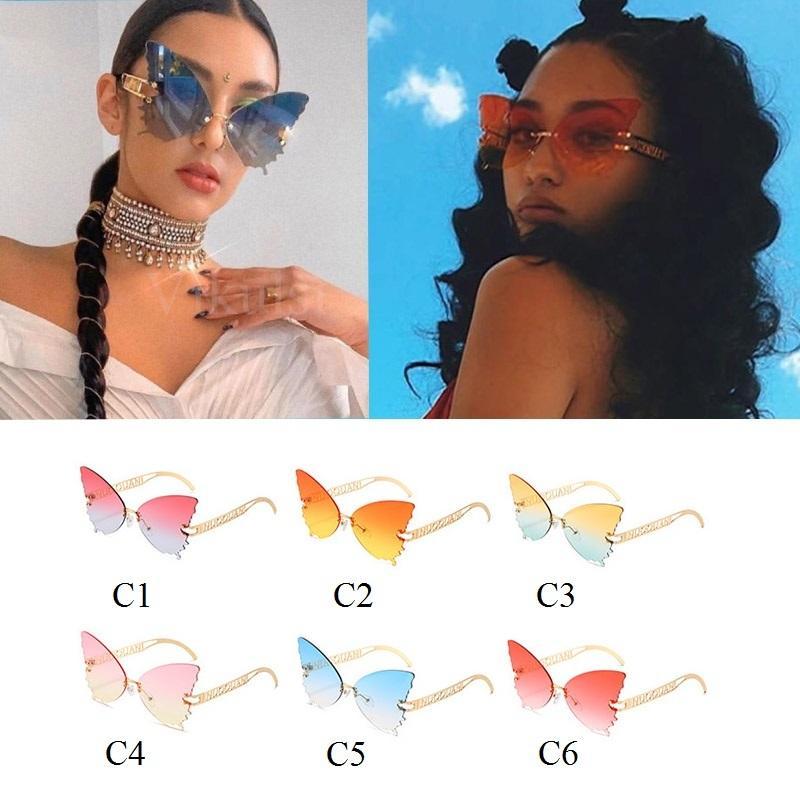 Sombras de borboleta de grandes dimensões para as mulheres Atacado óculos de sol mulheres na moda de metal gato sem aro óculos óculos a granel para fêmea UV400 J1211