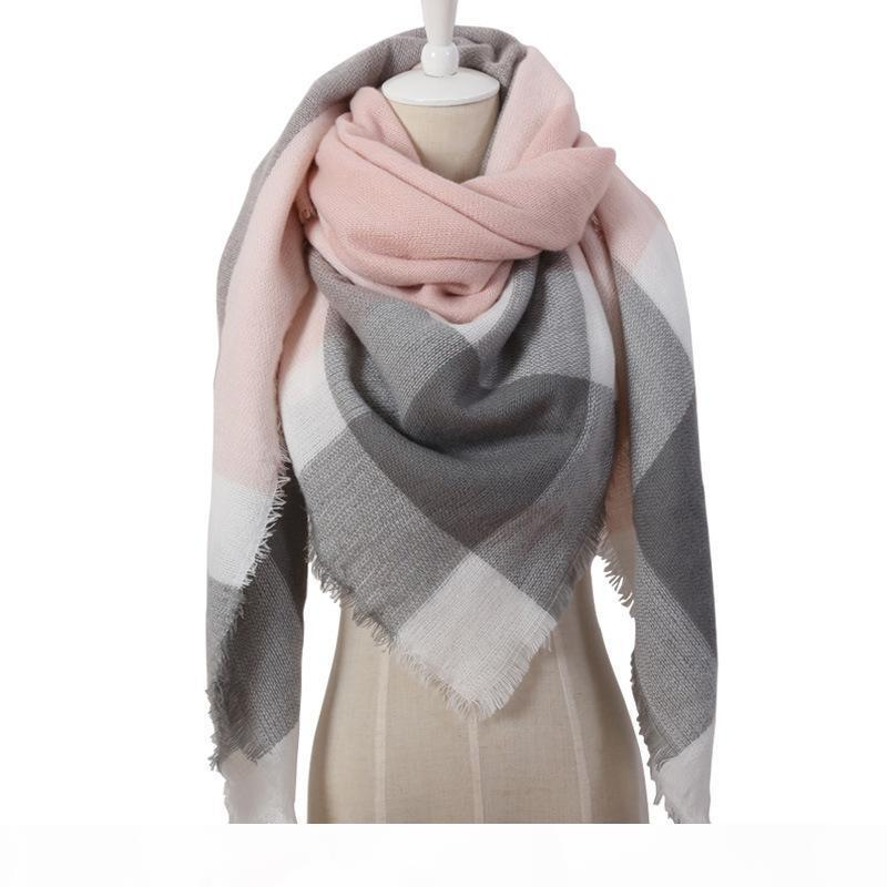Neue Winterschal Mode Frauen Schal Tücher Luxus Plaid Kaschmirschals Frauen Dreieck Bandage Bufanda Schal Wraps Großhandel 140 * 140 * 190 cm