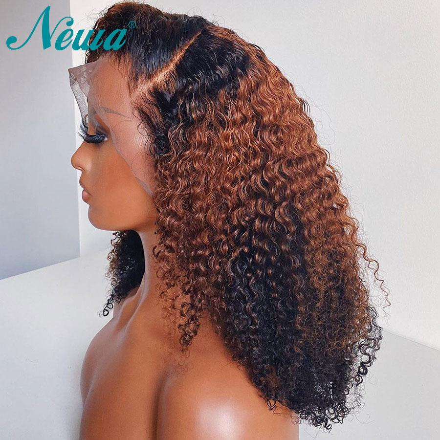 13x6 Curly Curly Front Human Human Wigs Prejuídos OMBRE Lace Front Wigs Curto Bob Perucas Brasileira Remy Remy Peruca Frontal