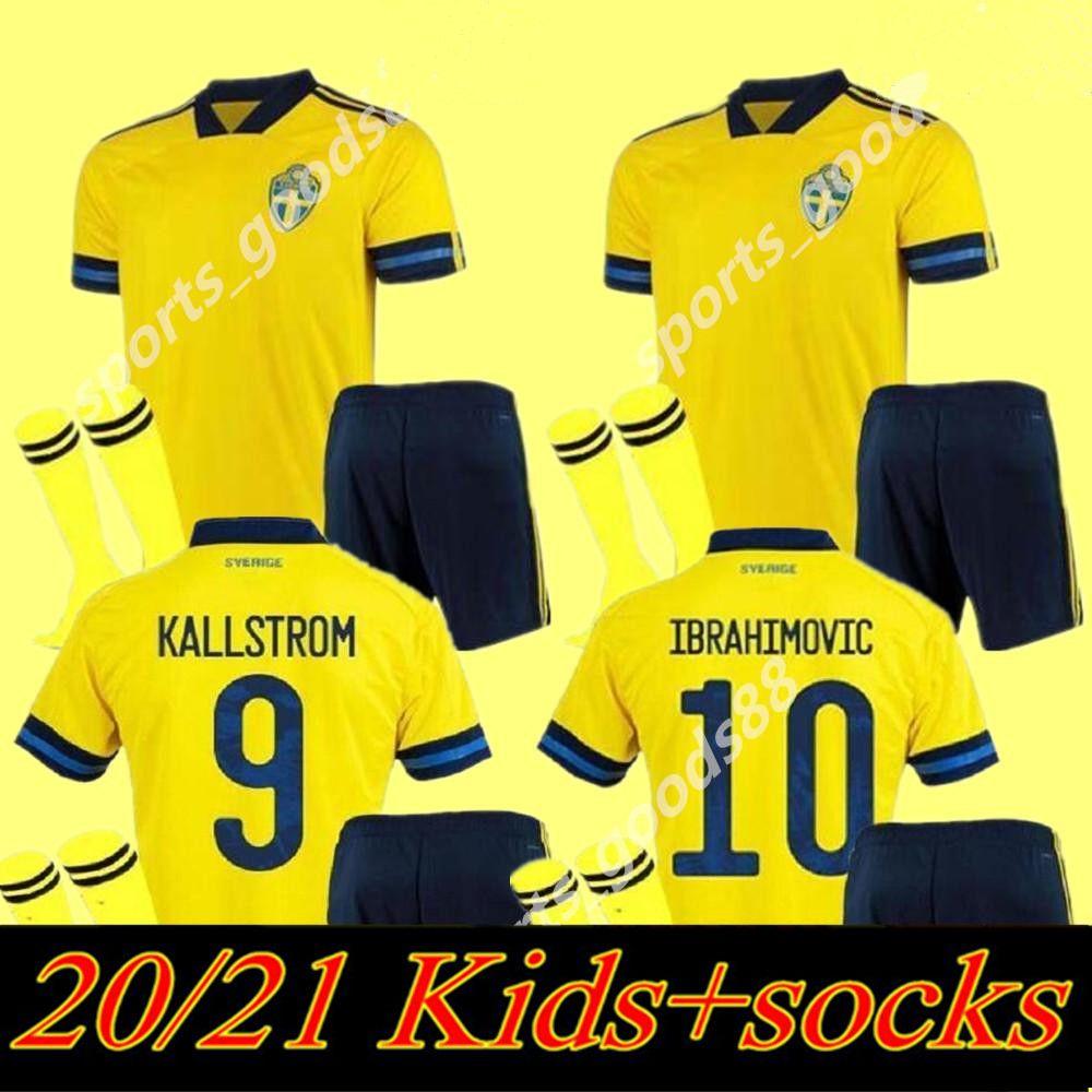20 21 Suécia Futebol Jerseys Kits Kits 2020 Sverige Home Forsberg Maillot de Pé Lindelof Guidetti Adulto Meninos Futebol Camisa Uniformes