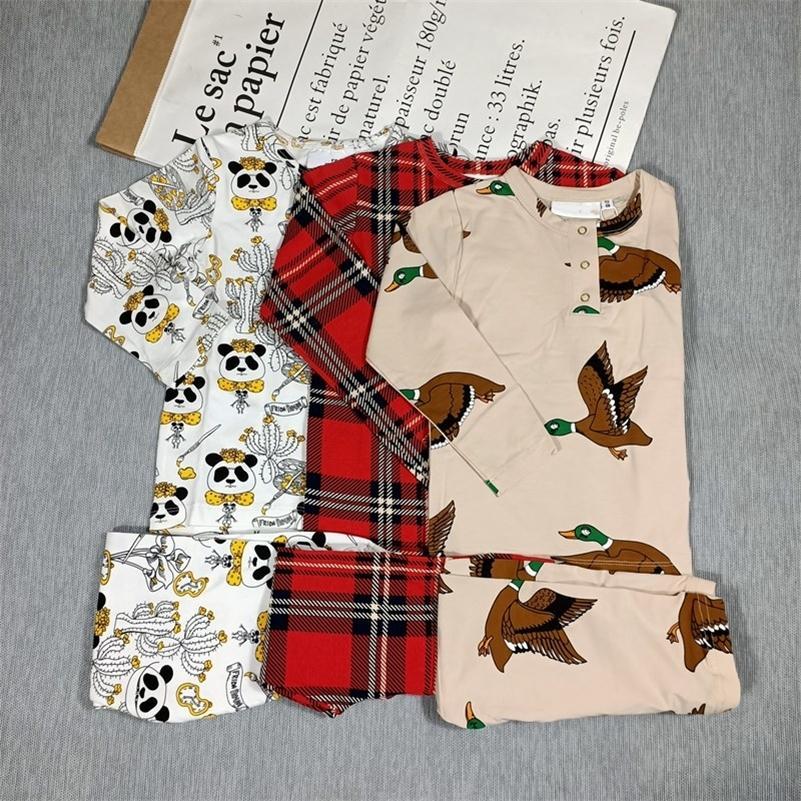 BOBozone Panda Panda xadrez de manga longa T-shirt e leggings para crianças meninos meninas outono inverno lj201216