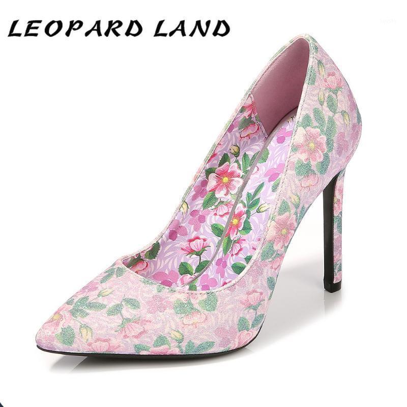 Leopard Land Fashion Большой размер Одиночные Обувь Световой рот Наземные Носки Высокие каблуки Поставка T Стадия Банкетный Показать Насосы WZ1