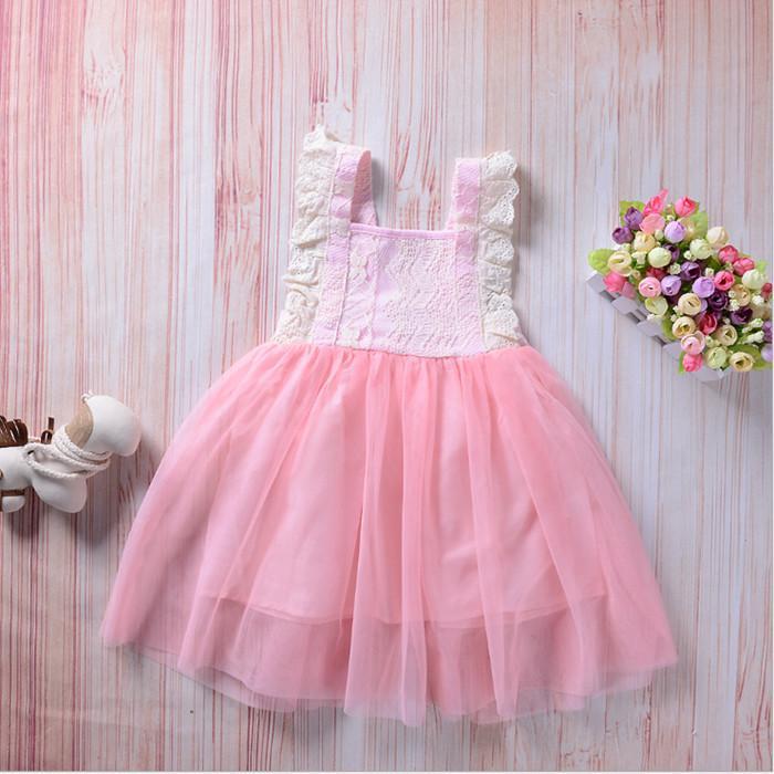Детские девочки платье тюль кружева лук вечеринка платья девочка TUTU Princess платье младенцев корейский стиль подвеска платье детская одежда YHM406