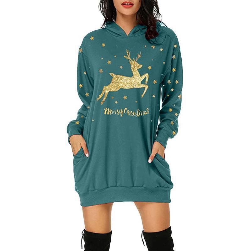40 # Mujeres Otoño Invierno Sudadera Vestido Christmas Hoodie Bag Hip Pocket Pocket Vestido con capucha Vestidos Vestidos de manga larga Vestidos elegantes