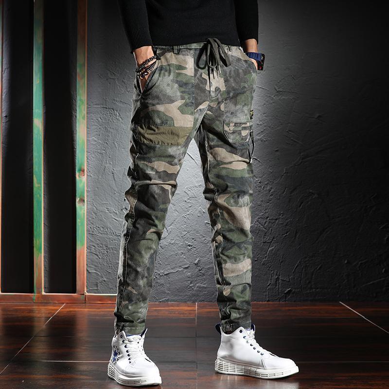 Recém designer moda homens jeans de alta qualidade elástico casual camuflagem carga calças grandes bolsos streetwear hip hop longa calças longas