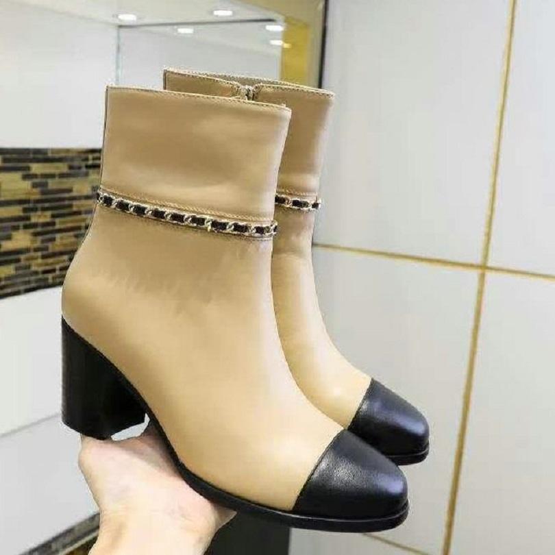 Fashion Automne Hiver Martin Bottes Designer Femmes Chaussures Lettre En daim High High Heeled Bottes en métal Fashion Fashion Dames Bottes courtes Ch230 05
