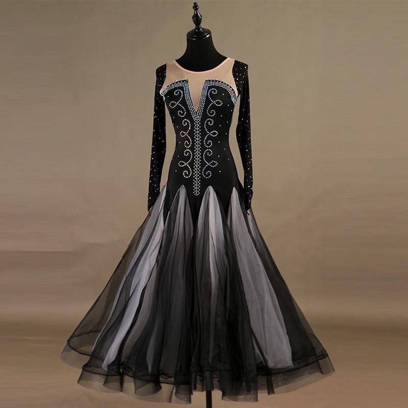 المرحلة ارتداء الفالس قاعة الرقص اللباس الرقص سيدة طويلة الأكمام لامعة الماس الرقص تنورة تانغو فساتين النساء