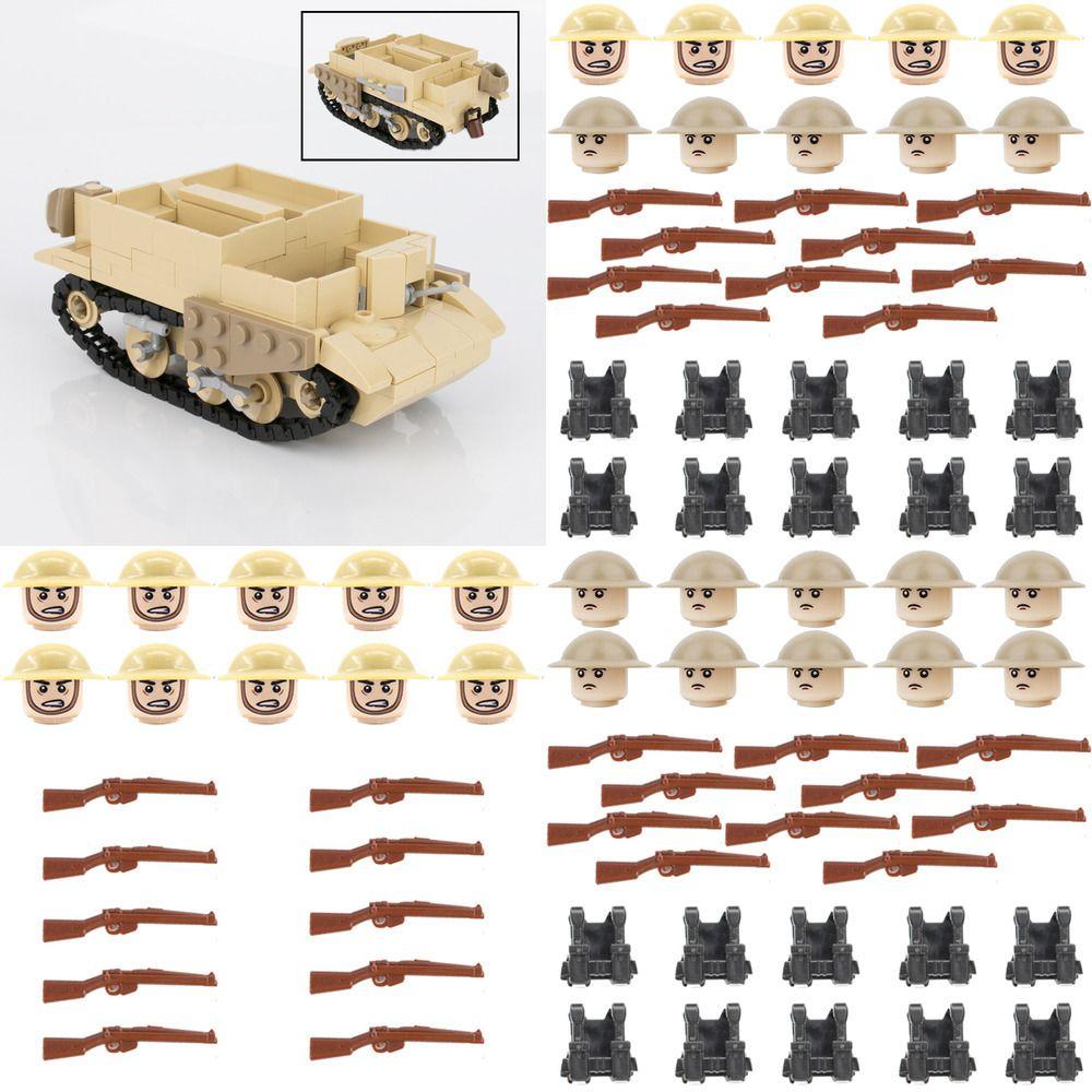 WW2 Militär britische BREN gepanzerte Fahrzeugbehälter Bausteine Britische Armee Medizinische Zubehör Infanterie Waffe Waffe Ziegel Spielzeug Y1130