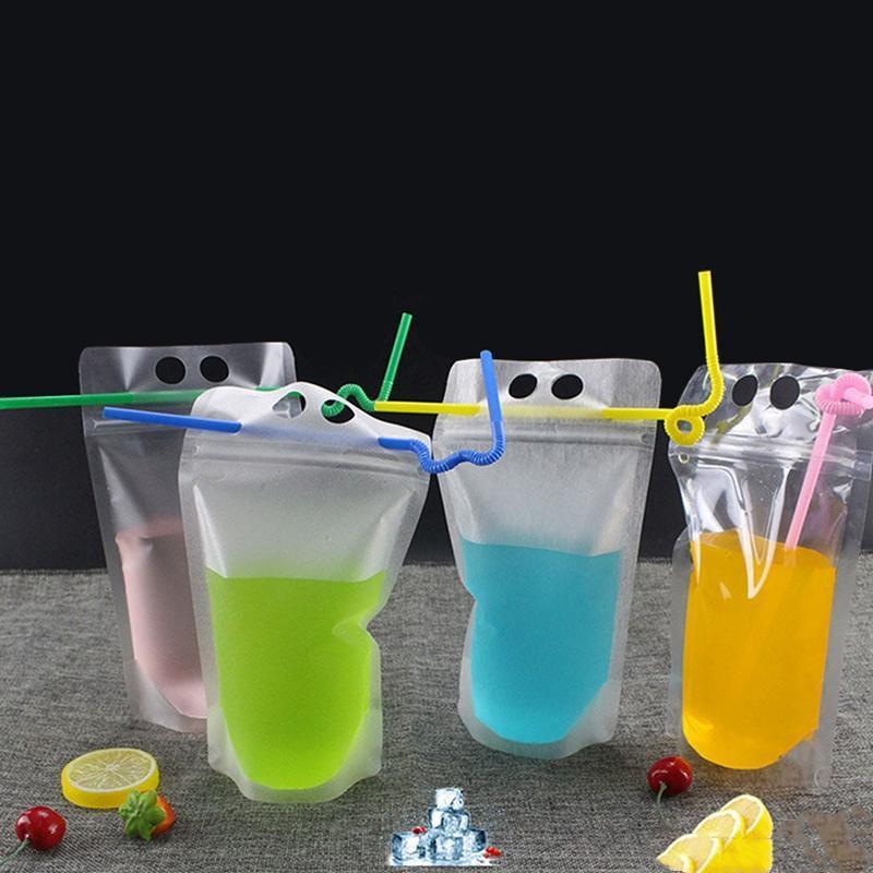 Clear Stand-up Bebida Bebida Café Plástico Zíper Bolsa de Embalagem Bolsa de Bloqueio de Zip Bolsa Bolsa Beber Composição Saco de Armazenamento WQ439