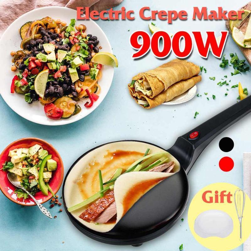 900W 전기 크레페 메이커 피자 팬케이크 기계 비 스틱 철판 베이킹 팬 케이크 기계 주방 요리 도구 220V