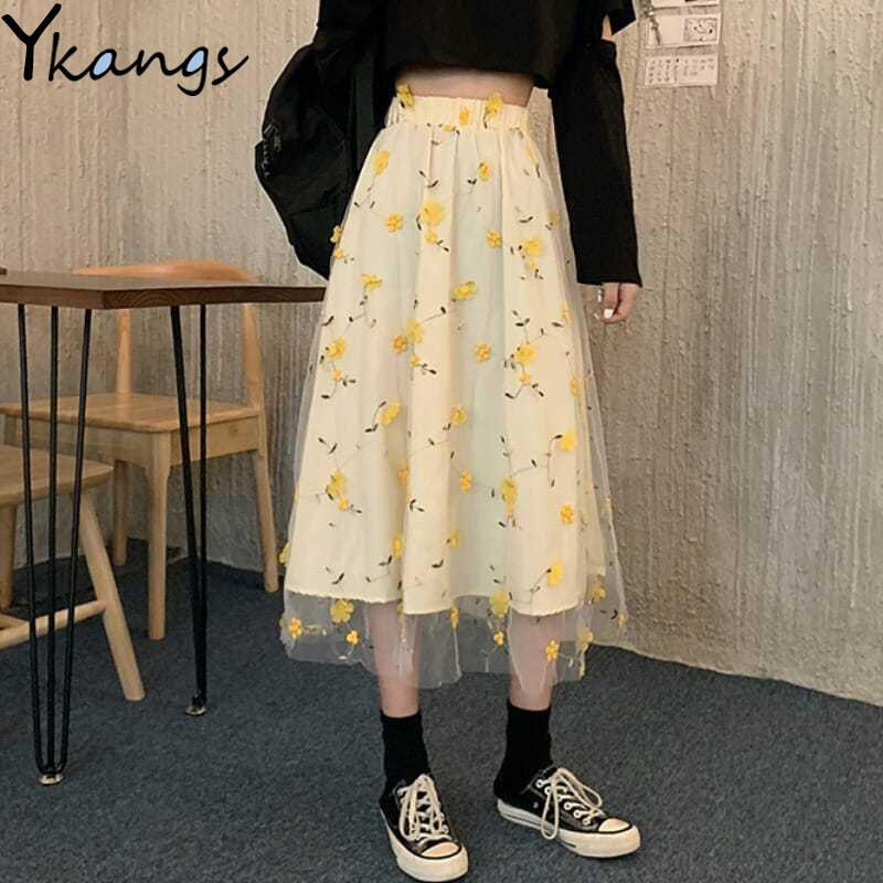 Юбки осень высокая талия 3D цветок сладкий плиссированные юбка женщины желтые вышивка кружева хараджуку корейские девушки студенты Kawaii долго