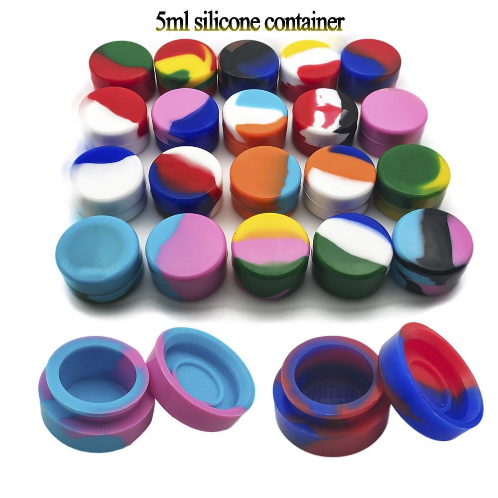 Pors en silicone 2ml 3ml 5 ml 7 ml rond NO-Stick Silicone Conteneur de silicone DAB Cire Bocaux de silicone de cire DAB Greig Silicone pour vaporisateur verre Bong DHL DHL