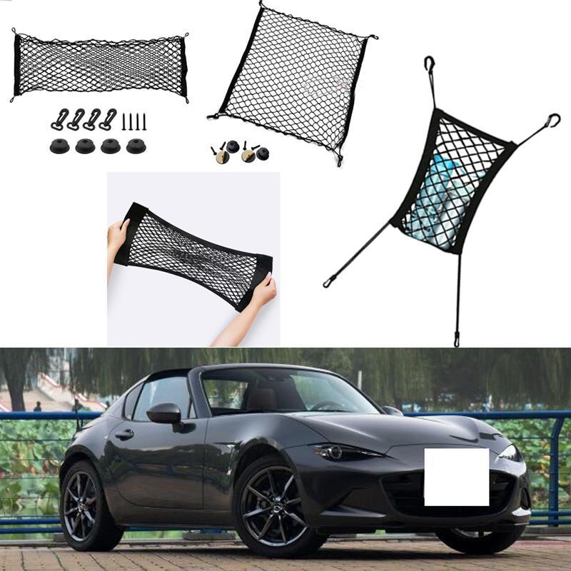 ل Mazda MX-5 MX5 سيارة السيارات سيارة سوداء الخلفية جذع البضائع الأمتعة المنظم التخزين نايلون عادي مقعد مقعد