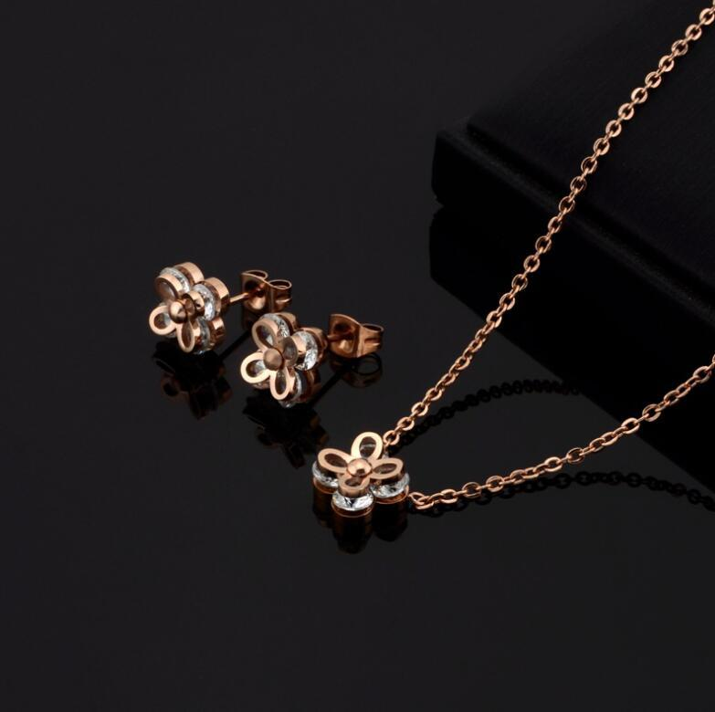 quartz clover necklace necklaces and earring rise gold jewelry golden necklace design stainless steel couple necklace set
