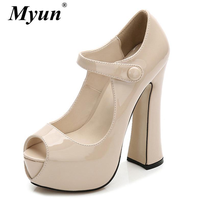 Pumps Female Shoes Fish Mouth Platform Women Pump Solid High Heels 14cm Shoes Fashion Sexy Platform Shallow Single Ladies