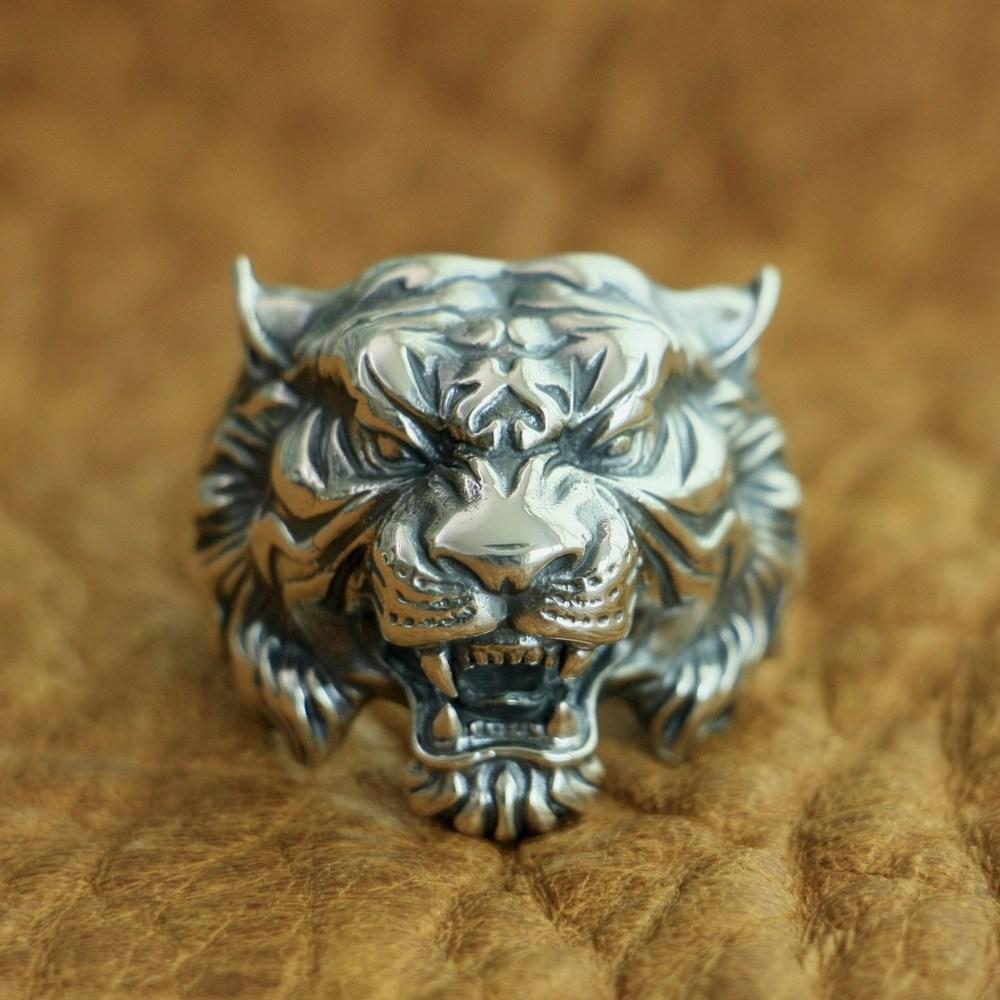LINSION 925 Sterling Silver High Details Tiger Ring Mens Biker Punk Ring TA130 US Size 7~15 Z1121