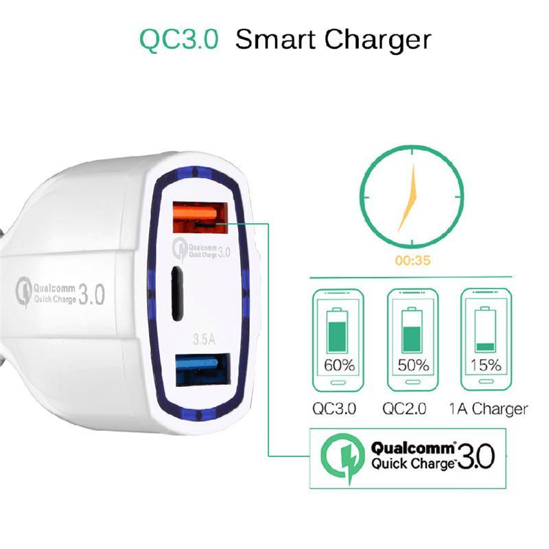 빠른 빠른 QC3.0 3 포트 USB 자동차 충전기 유형 C USB 자동차 충전기 듀얼 USB 자동차 휴대 전화 충전기