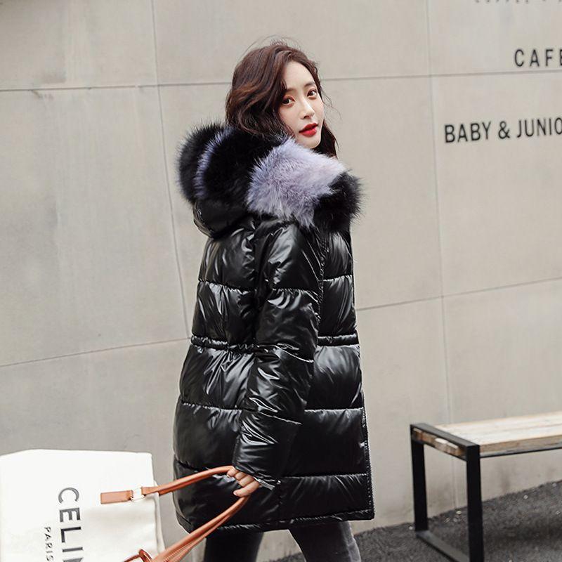 Fashion Women Glossy Medium Long Silver Down Jackets Big Colorful Fur Collar Hooded Coat Parka Jacket Warm Womens Winter Jackets 201211