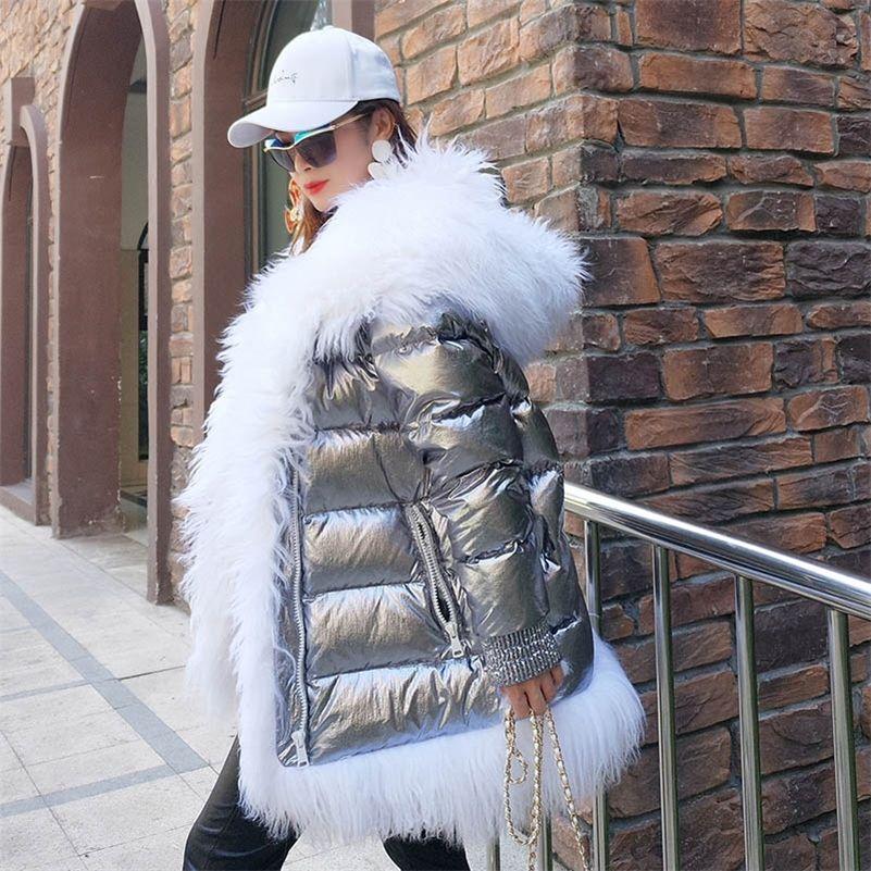 Mujer invierno abajo chaqueta abrigo larga cálida plata parkas mongolia oveja piel pato abajo abrigo Parka 201214