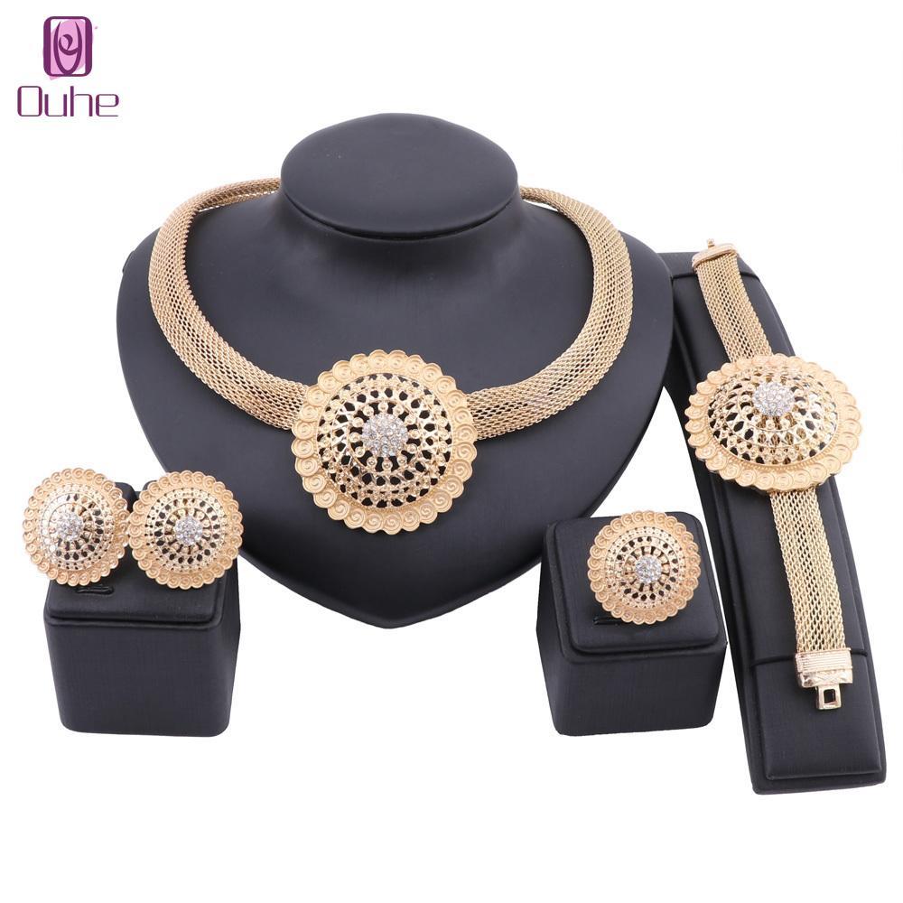 Afrikanische Schmuck Charm Halskette Ohrringe Dubai Gold Schmuck Sets Für Frauen Hochzeit Brautarmband Ring Schmuckset 201217