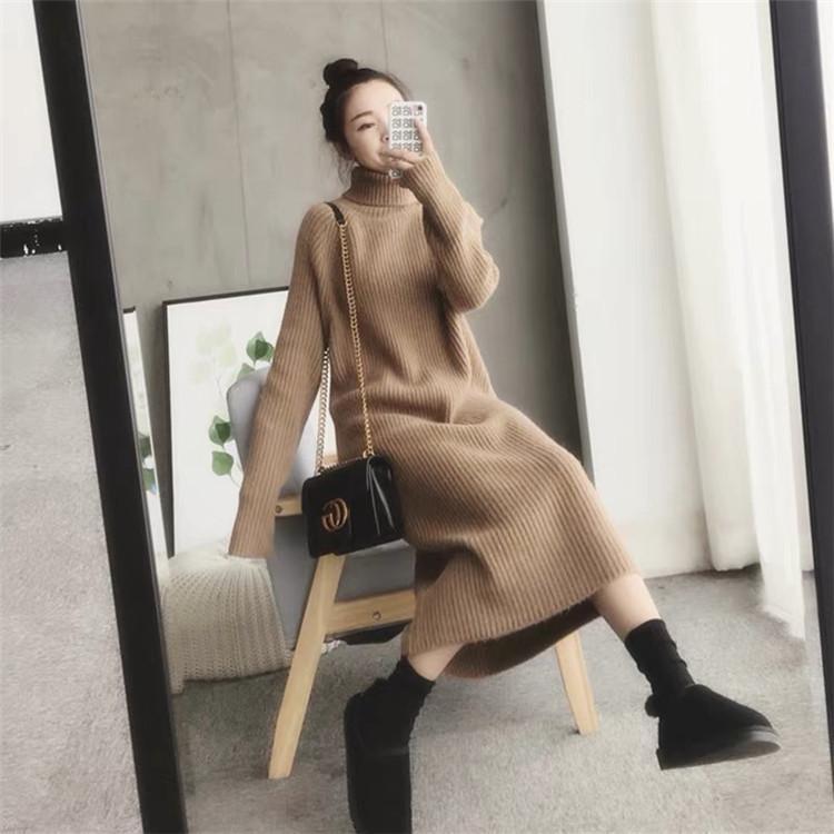 Mittellangen Pullover Rock Frauen Herbst / Winter 2020 Neue koreanische Art Lose High Neck Dicke gestrickte Bottoming Kleid