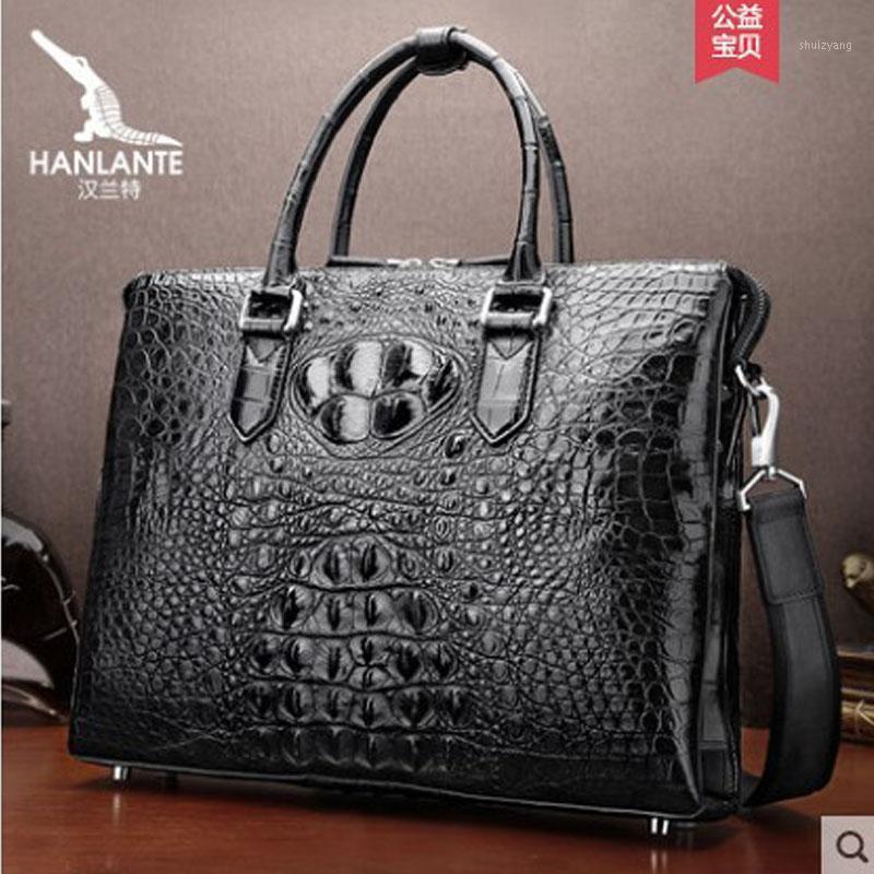 Hanlante Luxury Cocodrilo Handbag Men's Single Shoulder Bag Bolsa de hombre de negocios Horizontal Luxury Cuero Hombre Handbag1