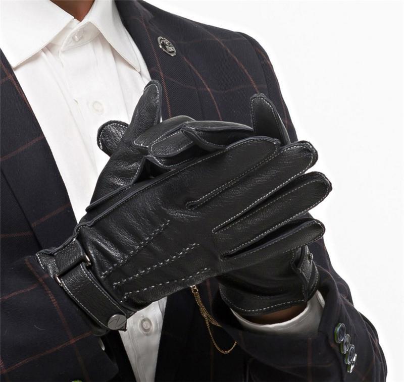 جديد الرجال أجرى قفازات جلدية الأزياء الشتاء الدافئة القيادة القفازات الرجل جلد طبيعي زر قفازات الذكور المعصم