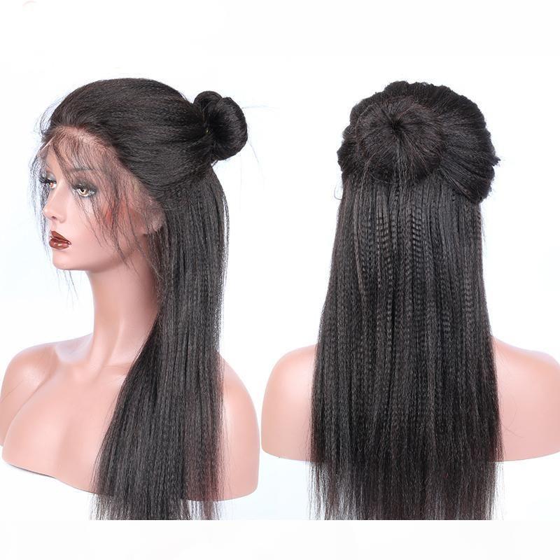 2018 100% non trasformato Virgin Remy Human Hair Bangs Yaki Straight Miglior Colore naturale Parrucca piena pizzo per le donne