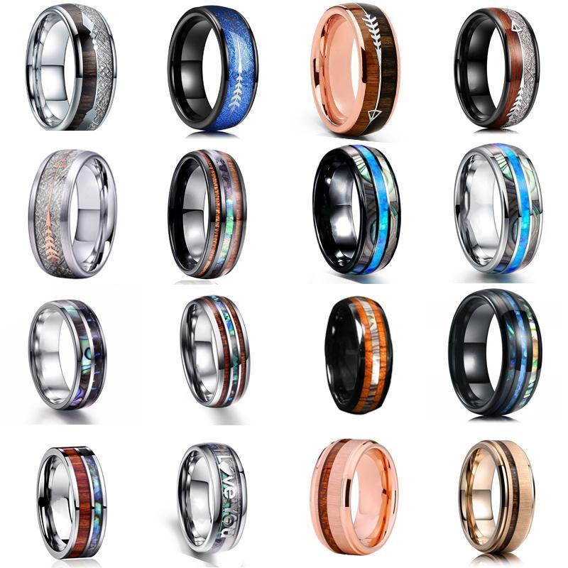 16 Стиль 8мм моды Luxury Карбид вольфрама из нержавеющей стали Wood Arrow и Shell Inlay кольца Свадебные Мужчинам подарка ювелирных изделий