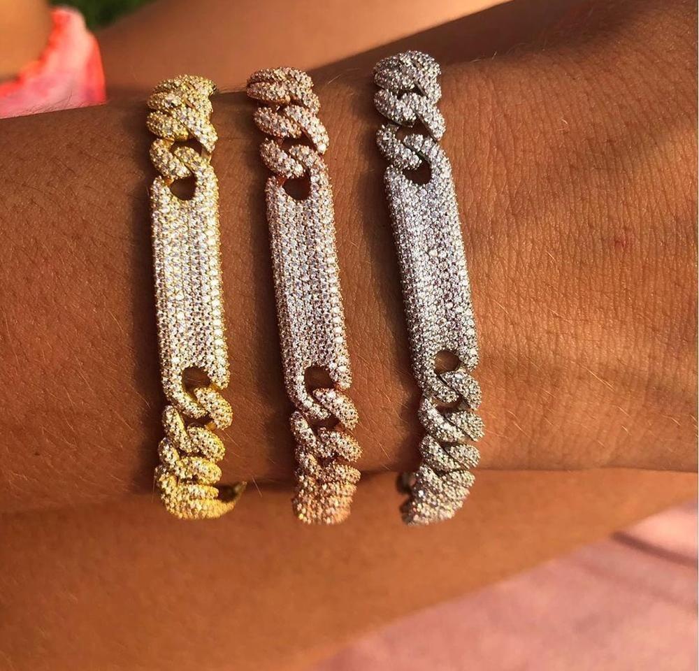 Mulheres hiphop jóias geladas fora bling miami Cuban Link Chain CZ Bar Pulseira Bracelete 17cm Alta Qualidade