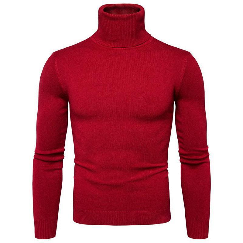 Осенняя весна мужская водолазка свитер теплый сплошной с длинным рукавом Slim Fit European и американский стиль одежды вязание повседневных свитеров