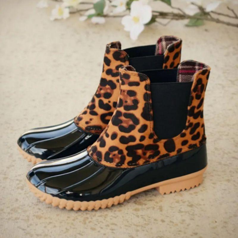 Top Fashion Leopard Print La lluvia de goma para la prueba Dwater a prueba de agua Tacones de agua Slip de baja en botas de pato Zapatos de tamaño grande 43