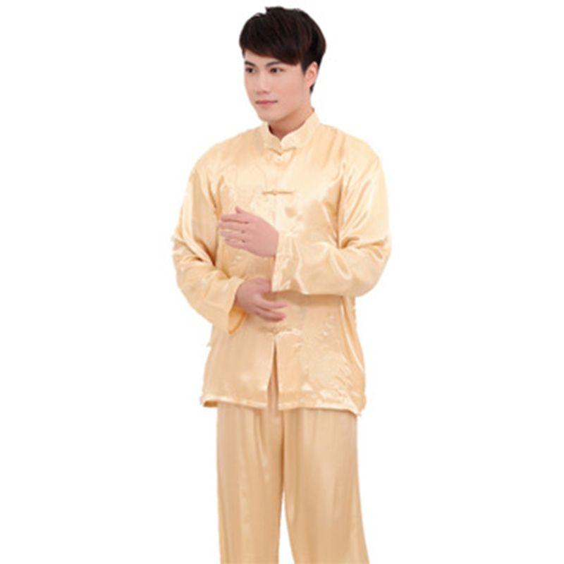 Plus Size XXXL estilo chinês homens pijamas de cetim set vintage button pijamas terno manga comprida sleepwear camisa de nightwear atacado