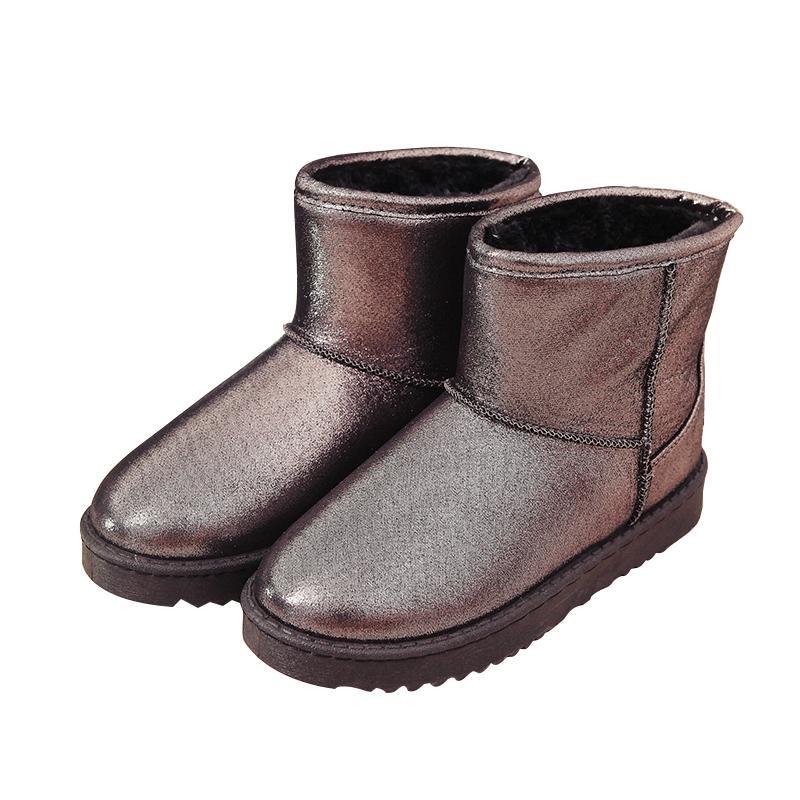 2021 o novo clássico feminino couro quente inverno inverno botas de neve à prova de prova de água de água sapatos de algodão mulher deslizante em apartamento dnul