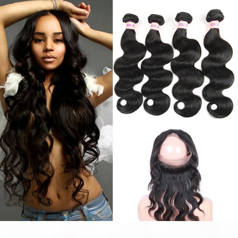 360 кружева фронтара бразильская девственница волна волос плетение волос 360 кружева фронтальная с пучками 9a человеческие волосы 360 закрытие